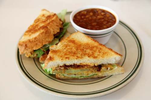BLFGT (bacon  lettuce  and fried green tomato sandwich) with burnt-end baked beans  Pies 'n' Thighs  Williamsburg  Brooklyn