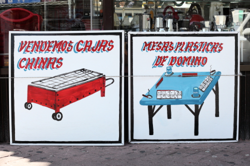 Vendemos cajas Chinas  mesas plasticas de domino  hand-drawn signs  Union City Home Center  Union City  New Jersey