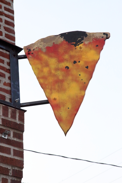 Hand-drawn hanging sign  Pizza  Philadelphia