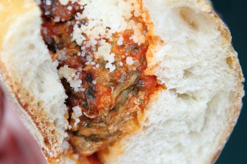 Turkey-spinach-quinoa meatball sub  Mille Nonne  Essex Market Block Party  Broome St  Manhattan