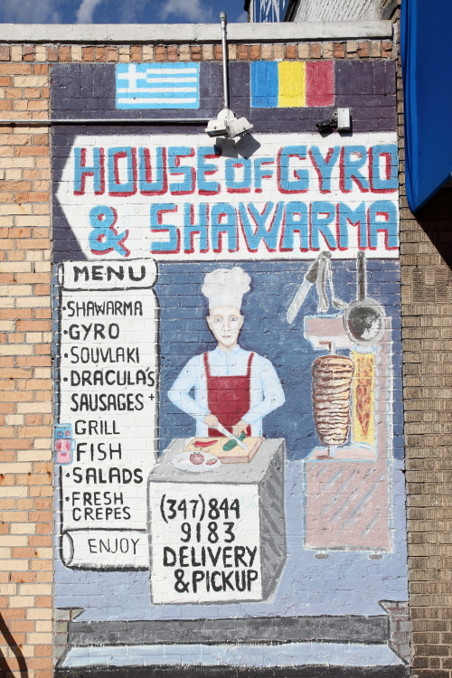 House of Gyro & Shawarma with Greek and Romanian flags  hand-drawn sign  Ridgewood  Queens