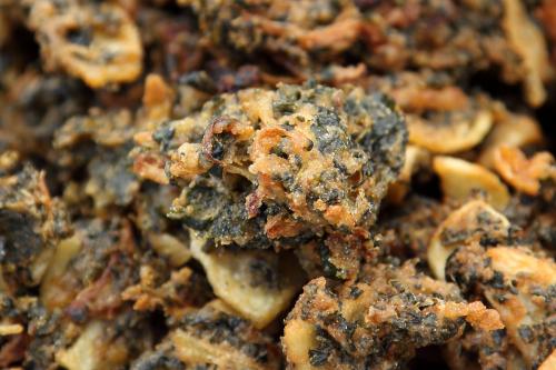 Spinach-potato-onion pakoras (India)  Lower Eats Side  PS 110 (The Florence Nightingale School)  Delancey St  Manhattan