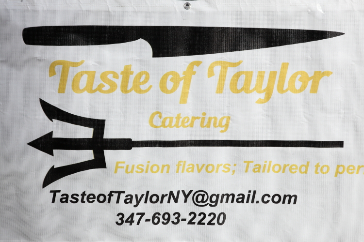 Banner with Barbadian trident  Taste of Taylor Catering  New York City Public Markets Festival  South Street Seaport  Manhattan