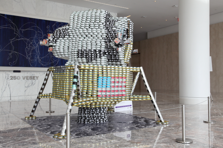 One Small Can for Man  One Giant Leap Against Hunger (Thornton Tomasetti  2019)  Canstruction  Brookfield Place  Vesey St  Manhattan