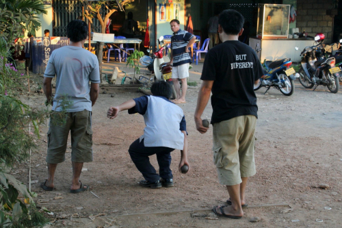 Petanque players  Vientiane  Laos