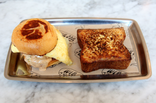 Milk bun with braised pork hock  and custard toast  Win Son Bakery  East Williamsburg  Brooklyn