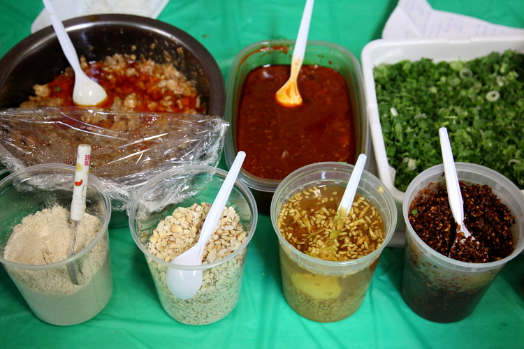 Mise en place (detail) for Myitkyina noodles  Kachin Traditional Food Fair  Elmhurst Baptist Church  Elmhurst  Queens