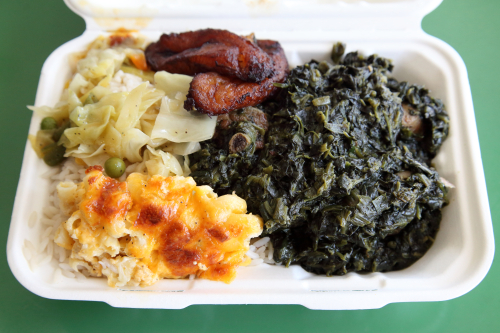 Mac and cheese  cabbage  plantains  and Liberian-style spinach with chicken and turkey  Mona's Cuisine  Clifton  Staten Island