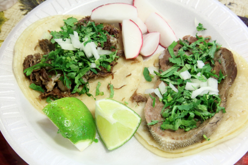 Beef head and beef tongue tacos al vapor  Las Conchitas Bakery  Sunset Park  Brooklyn
