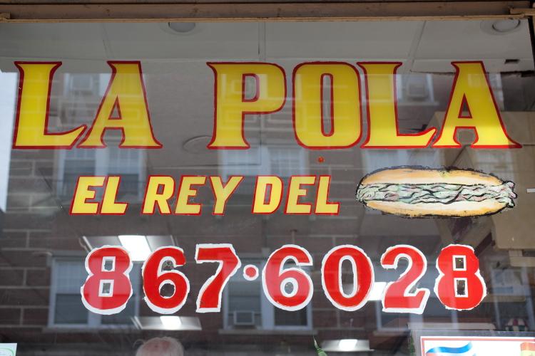 El rey del [sandwich] with sandwich rebus  hand-drawn sign  La Pola  West New York  New Jersey