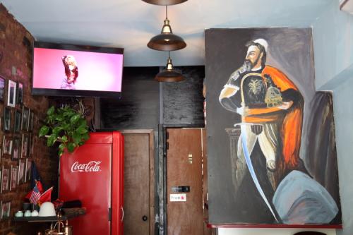 Albanian music video and portrait of Skanderbeg (Gjergj Kastrioti)  Dua Kafe  East 14th St  Manhattan