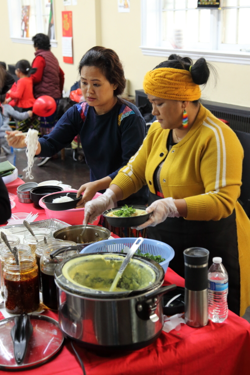 Preparing Taunggyi warm tofu and noodles  Kachin Traditional Food Fair  parish house of St James Episcopal Church  Elmhurst  Queens