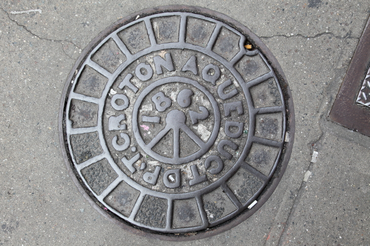 Croton Aqueduct Dpt (most likely Department)  1862  maintenance-hole cover  Eighth Ave  Manhattan