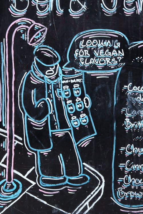 Looking for vegan flavors  hand-drawn signboard (detail)  Ben & Jerry's  St Mark's Pl  Manhattan