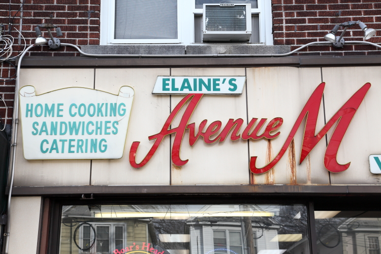 Detail of signage  Elaine's Avenue M Deli  Midwood  Brooklyn
