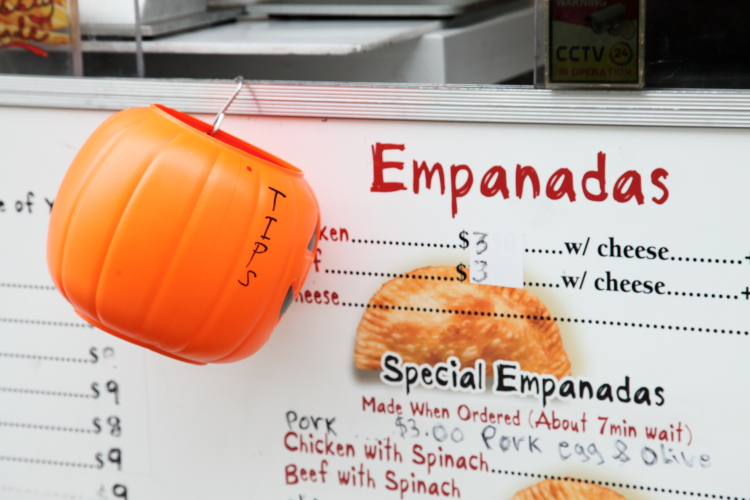 Seasonal tip bucket  Rosa's Empanadas truck  Rego Park  Queens