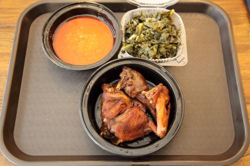 Red stew  collard greens  and hard chicken  Tessey's International Kitchen  Allerton  Bronx