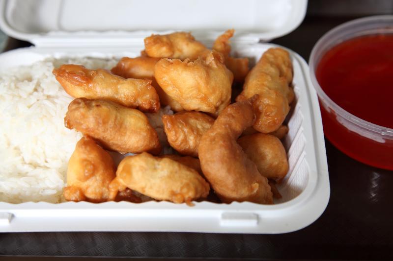 Sweet and sour chicken lunch special (detail of chicken)  Peking Garden  Broadway  Manhattan