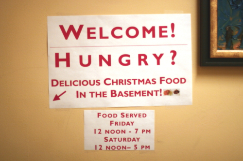 Directions to the dining area  Church of Sweden Christmas Bazaar at the Church  East 48th Street  Manhattan