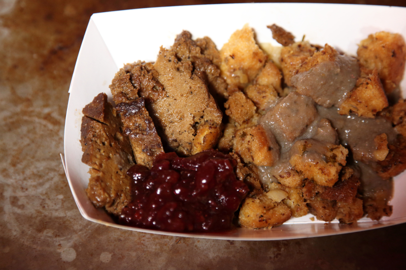 Vegan Thanksgiving plate  Monk's Meats  Vegan Shop-Up  Pine Box Rock Shop  Bushwick  Brooklyn