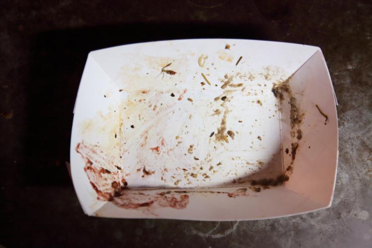 Leavings of vegan Thanksgiving plate  Monk's Meats  Vegan Shop-Up  Pine Box Rock Shop  Bushwick  Brooklyn