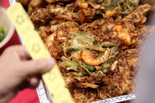 Shrimp fritters (on display)  National Humanitarian Fundraising for Myanmar Food Fair  St James Episcopal Church  Elmhurst  Queens
