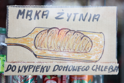 Mąka żytnia do wypieku domowego chleba  rye flour for baking homemade bread  hand-drawn sign  Star Deli & Bakery  Greenpoint  Brooklyn
