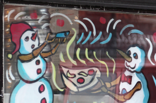 Wintertime pizza artwork (Paint the Town  2018)  East Village Pizza  East 9th St  Manhattan