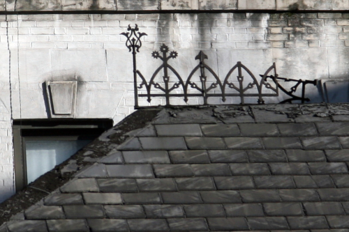 Ironwork on the roof of a former Croton Aqueduct gatehouse  Amsterdam Avenue  New York