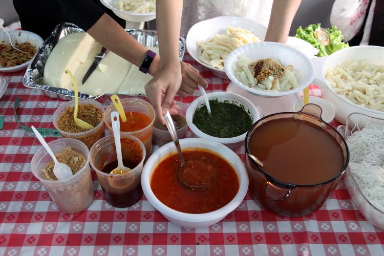 Preparing rice tofu salad  Myanmar Baptist Church Fun Fair  St James Episcopal Church  Elmhurst  Queens