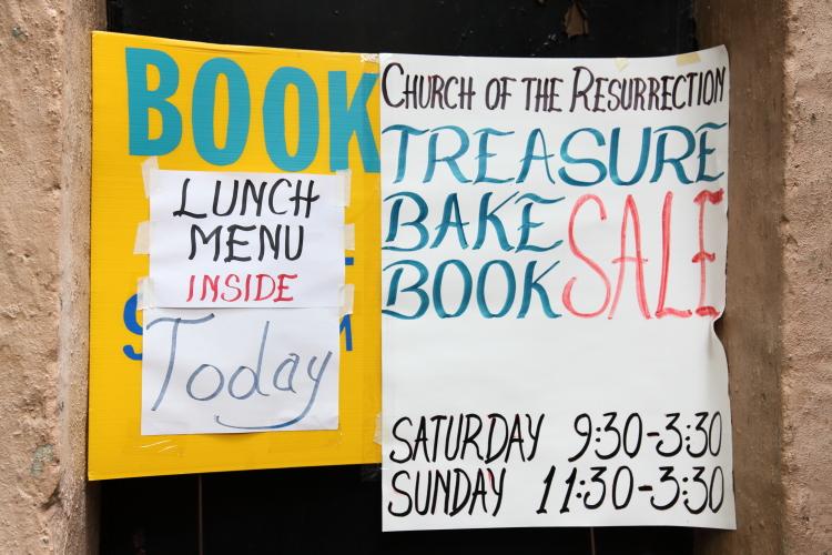 Treasure  bake  book sale  hand-drawn sign  Church of the Resurrection  Kew Gardens  Queens