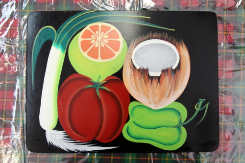 Hand-painted wooden placemat  Elyon Restaurant  Queens Village  Queens
