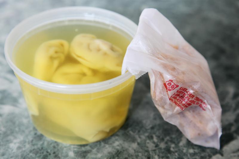 Sweet and sour chicken lunch special (detail of wonton soup)  Peking Garden  Broadway  Manhattan