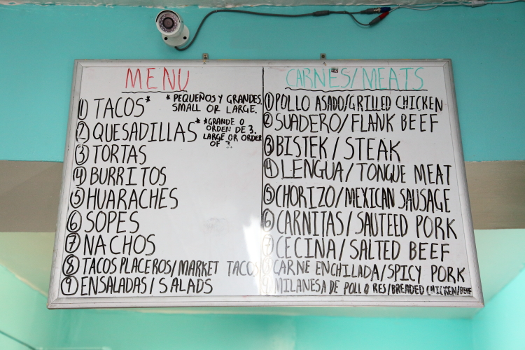 Handwritten menu board  San Pedro Deli  Greenwood Heights  Brooklyn