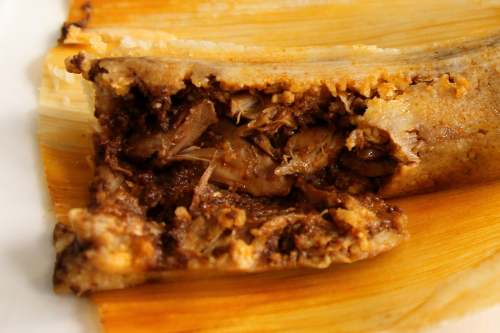 Mole poblano tamal with chicken (cutaway view)  Factory Tamal  Ludlow St  Manhattan
