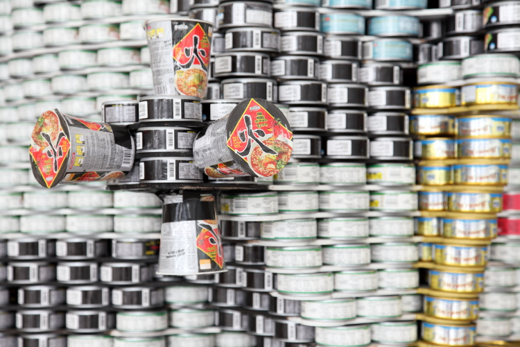 One Small Can for Man  One Giant Leap Against Hunger (detail of thruster assembly; Thornton Tomasetti  2019)  Canstruction  Brookfield Place  Vesey St  Manhattan
