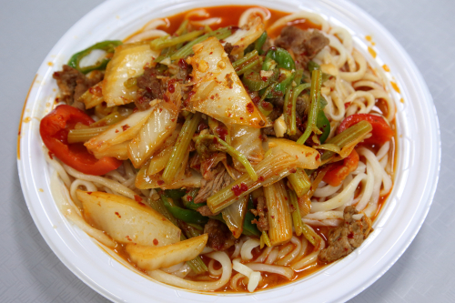 Home-style lagman  Uyghur Apandi Food  Super HK food court  Flushing  Queens