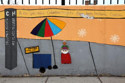 Frutas  mango  piña  sandia  mural (detail; various artists of the local Latin American Youth Center  date unknown) outside Tubman Elementary School  Washington  DC