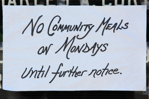No community meals on Mondays until further notice  handwritten sign  Mount Olivet Baptist Church  Lenox Ave  Manhattan