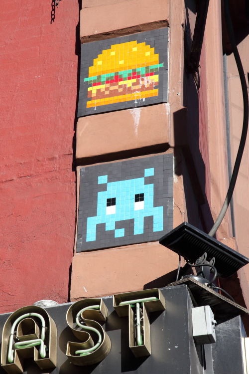 Space Invader and burger (Invader  2015)  Waverly Diner  Sixth Ave  Manhattan