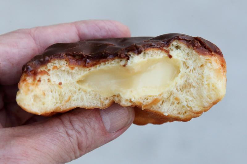 Boston creme donut (biteaway view)  Dunkin'  Broadway  Manhattan