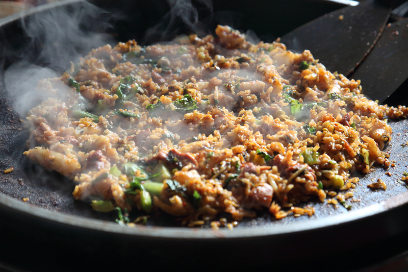 Spicy stir-fried-chicken rice  Doraon 1 point 5 Dak Galbi  Murray Hill  Queens