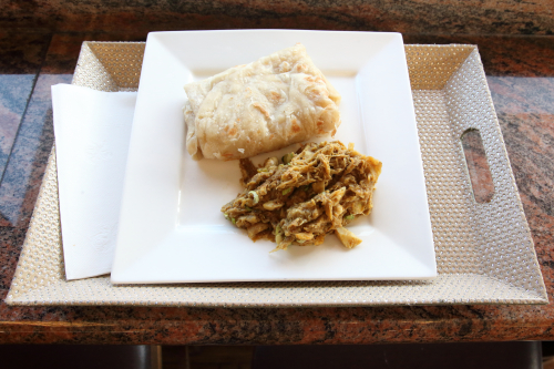 Oil roti and Guyanese-style mashed katahar (breadnut)  Fazee's Delight  Queens Village  Queens