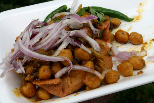 Onions  chickpeas  and a samosa at the Sikh Festival  near Madison Square Park