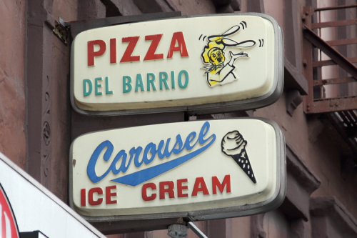 Pizza del Barrio  Carousel Ice Cream  surviving signage  Third Ave  Manhattan