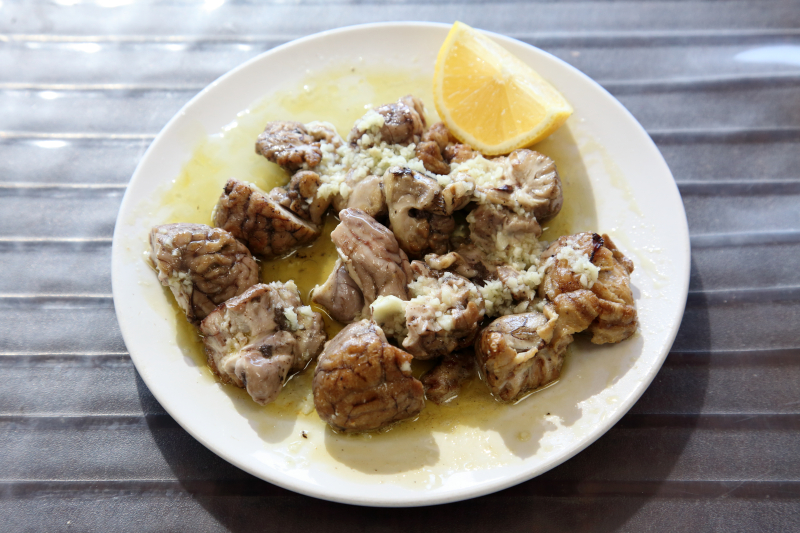 Lamb brain with lemon  garlic  and olive oil  Al Raouche  Paterson  New Jersey