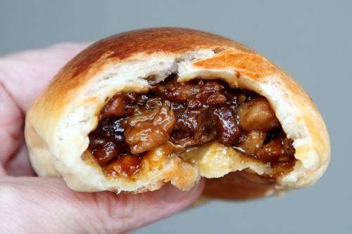 Baked roast pork bun (biteaway view)  Mei Lai Wah  Bayard St  Manhattan