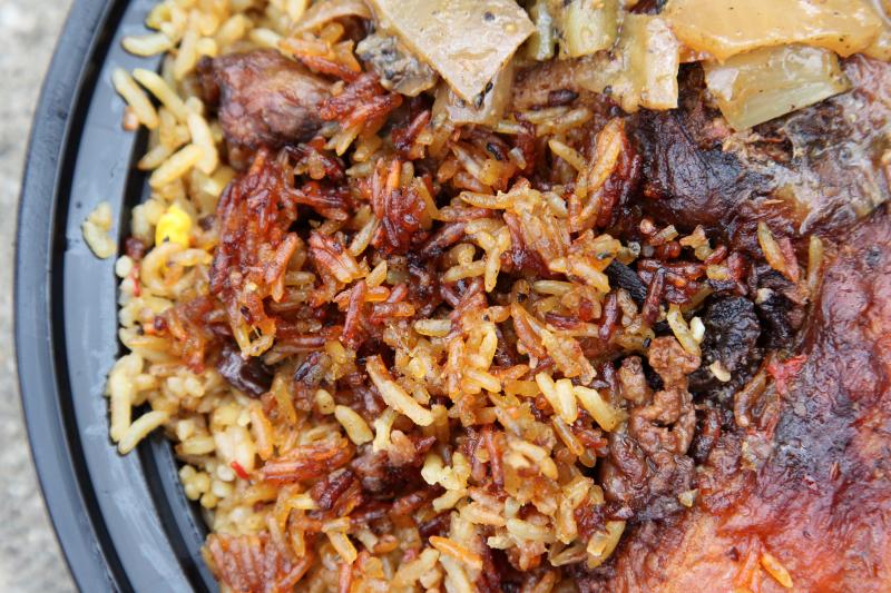 Thiebou guinar  Senegalese rice with chicken (detail of xoon  crispy rice)  J Restaurant Chez Jacob  Frederick Douglass Blvd  Manhattan