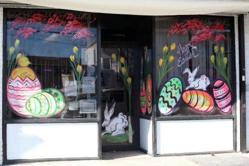 Happy Easter  hand-painted artwork (Berchman Sydney Augustine  2019)  The Nest  South Richmond Hill  Queens