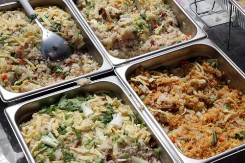 Rice dishes  Khmer New Year celebration  Wat Jotanaram  Bedford Park  Bronx